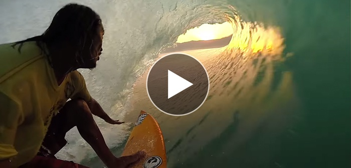 Mikala Jones Surfs into the Sunset