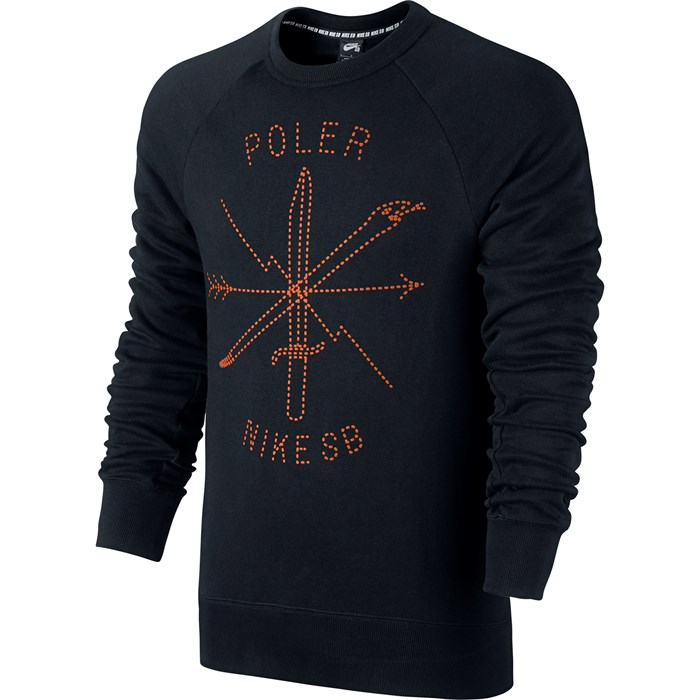 Nike sb x poler icon fleece crew black urban orange